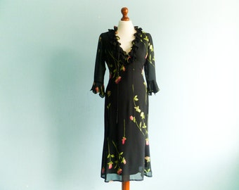 Vintage Little Black Dress / Floral Dress / Fitted / Semi Sheer / Below Knee / Midi / extra small / small