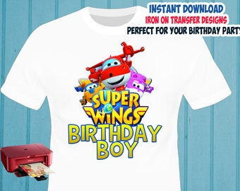 Superwings , Birthday BOY , Iron On Transfer , Superwings Birthday Shirt Design , Boy DIY Shirt Transfer , Digital Files , Instant Download