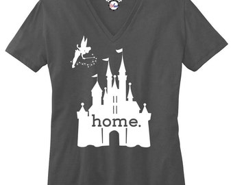 The Original Disney Is My Home Ladies V-Neck T-Shirt