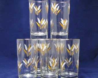 Libbey's Party Time Glasses/ Wheat Spray Pattern/  22K Gold Trim/ Tumblers/ MCM