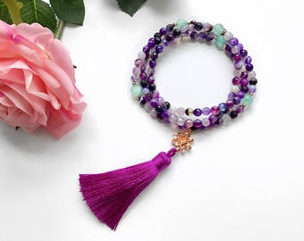 Tassel Beaded Necklace, 108 Mala, Mala Necklace, Mala Beads, Healing Gemstone Necklace, Mala, Meditation Beads Necklace, Boho Necklace, MNPA