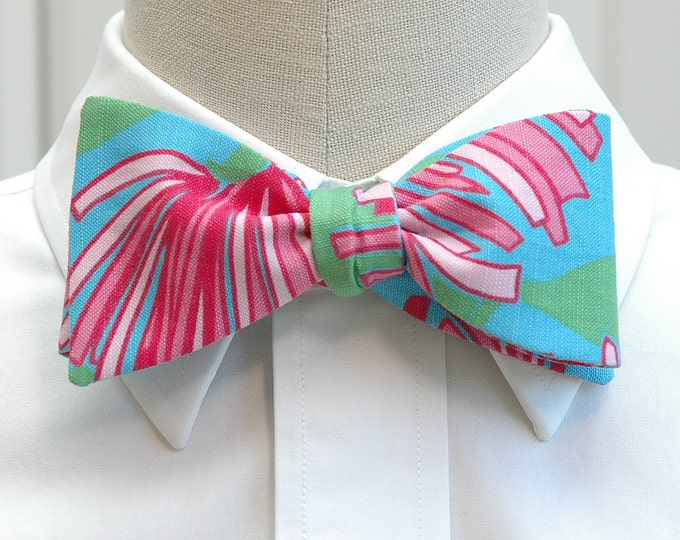Men's Bow Tie, Kissue turquoise & pink Lilly print bow tie, wedding bow tie, groom bow tie, groomsmen gift, prom bow tie, tux accessory