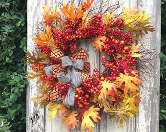 Large Fall Wreath, Thanksgiving wreath, fall wreath for front door, Fall Wreath, Fall wreath burlap, Autumn Wreath, Harvest Wreath