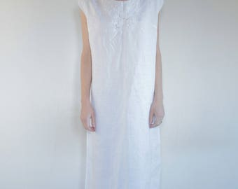 50's hand embroidered linen slip dress/ white on white roses and lace