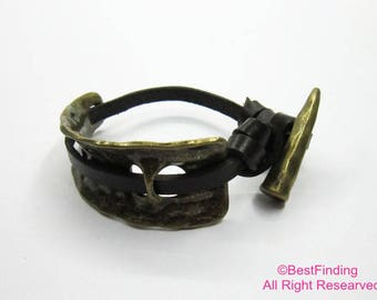 Hammered half cuff leather bracelet clasp Antique bronze cuff bracelet - 2sets