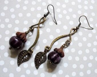 Purple Pumpkin and Leaf Earrings (3057)