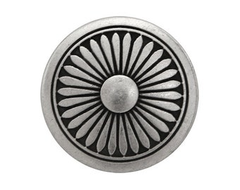 2 Flower Shield 7/8 inch ( 23 mm ) Metal Buttons Antique Silver Color