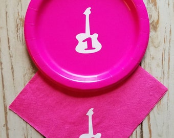Rock and roll first birthday, guitar first birthday, rockstar party plates, cups, pop star party, pop star first birthday plates, rock