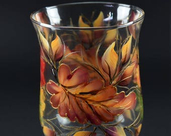 "8"" Tall Hurricane Candle Holder/ Fall Leaves /Centerpiece"