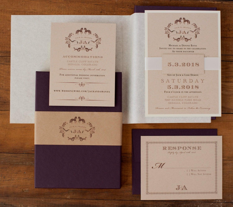 Rustic Chic Boxed Wedding Invitations Plum Ivory Kraft
