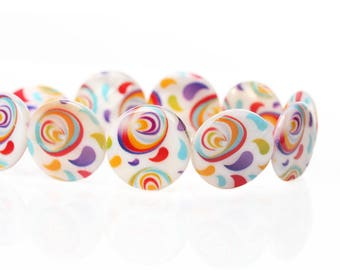 1 puck bead mother of Pearl spiral multicolor 20 mm