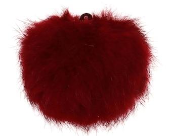 Dark red fur 8 cm ball charm