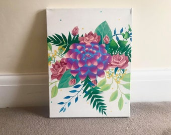 Tropical Bouquet Painting 12x16 Canvas