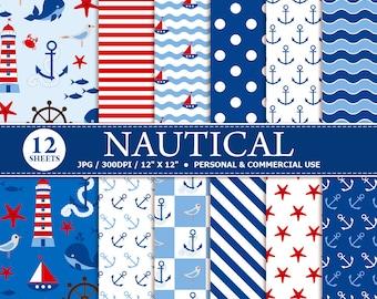 12 Nautical Digital Scrapbook Paper, digital paper patterns for card making, invitations, scrapbooking.