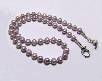 Lavender Freshwater Pearl Sterling Silver Necklace - N938
