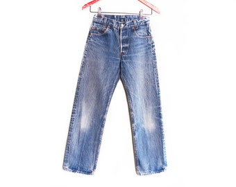 vintage levis denim / Levis 501 / boyfriend jeans / 1980s distressed Levis 701 petite boyfriend denim 24