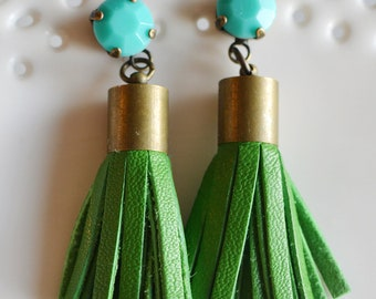 Green Leather tassel earrings with turquoise stone