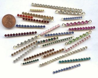 18 Vintage Austrian Swarovski Rhinestone Brass Assorted Bendable Bars V811