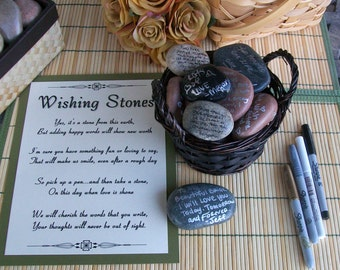 Wishing Stones - Unique Special Occasion or Wedding Guest Book Alternative - Guestbook (set of 100)