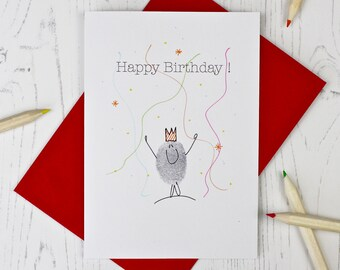Thumb Print Birthday Card