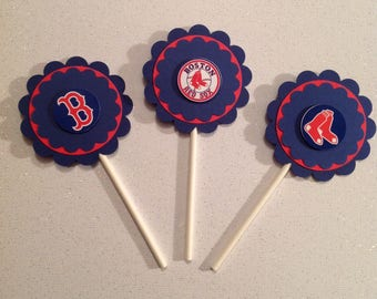 Boston Red Sox Cupcake Toppers - Red Sox Birthday Party - Red Sox Birthday Decor - Red Sox Party Decor - Baseball Birthday Decor - Baseball
