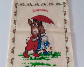 Oilcloth tote bag, Kids tote bag, Childs tote bag, Small tote Bag, Bunnykins tote bag, Vintage tote bag, Vintage oilcloth tote bag