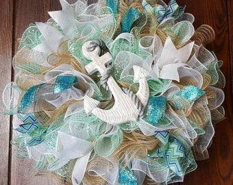 Beach Wreath, Summer Wreath, Anchor Wreath, Sailing Wreath, Anchors, Summer, Nautical, Sailing, Beach, Beach Decor, Ocean, Turquoise Wreath