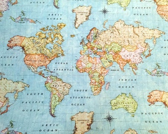 World map fabric etsy gumiabroncs Gallery