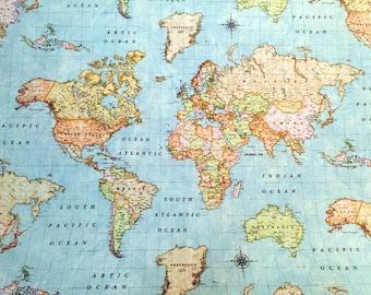 World map fabric etsy gumiabroncs Choice Image