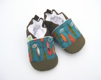 Classic Fishing Lures in Teal / Non-Slip Soft Sole Baby Shoes / Made to Order / Babies Toddlers Preschool