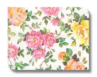 Floral paper napkin for decoupage, mixed media, collage, scrapbooking x 1. Tea Roses.  1020