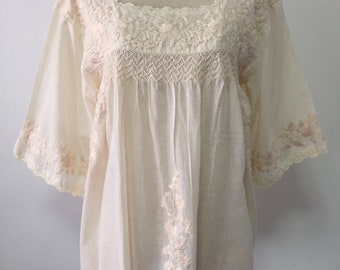 Mexican Embroidered Blouse 3/4 Sleeve Natural Cotton Top