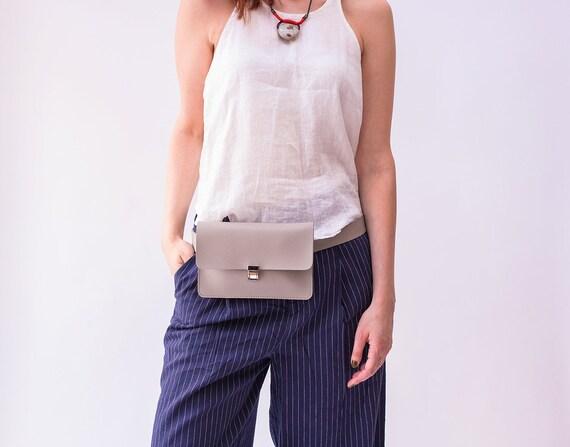 Minimalist Fanny Pack, Gray Belt bag, Vegan Leather Hip Bag, Leather Waist Bag, Travel Bag, Festival Bag, Convertible Bag, Bum Bag