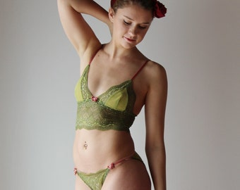 lace lingerie set with longline bralette and bikini panties JESTER - made to order