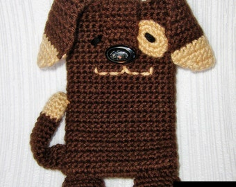 PDF PATTERN - Brown Dog - iPhone 5 crochet case (cozy, sleeve, cover)