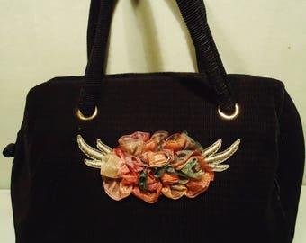 Vintage 1980s Black Handbag with Floral Front Detail