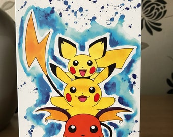 Pikachu Evolutions. Inky Style Greeting Card. A6. PRINT