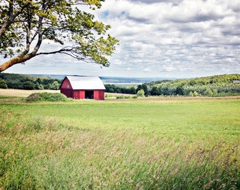 Red barn canvas, red barn print, barn photo, rural midwest farm photo, Midwest farm print, farm canvas