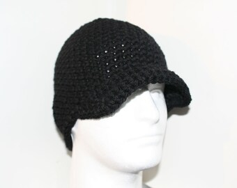 Black winter hat with brim or visor all handmade with 100 percent WOOL.