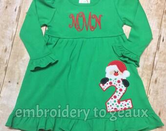 Monogrammed Girl's Christmas Birthday Dress, Girls Christmas Dress, Girl's Santa Dress, Girls Christmas Dress, Toddler Girls Christmas