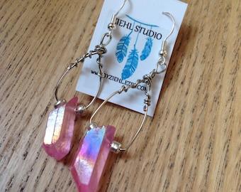 Pink rose aura quartz dangle earrings