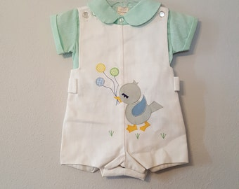 Vintage Boys Jon Jon Romper in White Pique with Blue Bird and Balloons over Green Striped Shirt- Size 12 months- New, never worn