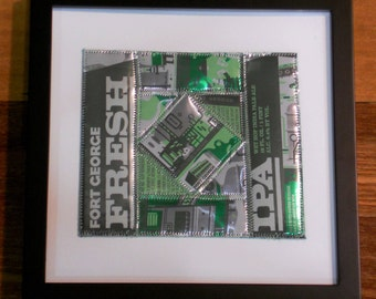 For the Beer Lover that has Everything, Framed Art OOAK using Pieced Recycled Fort George Fresh Hop Beer Cans