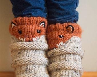 Foxy Soxies Knitting Pattern - Fox Socks - Sock Pattern - Child Sock Pattern - Adult Sock Pattern - Animal Sock Pattern - Fox Knit Pattern