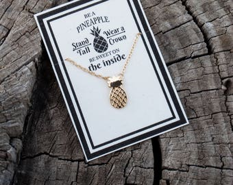 Gold Pineapple Necklace - Card Be A Pineapple, Stand Tall, Wear a Crown and Be Sweet on the Inside