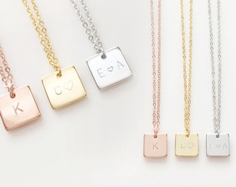 Initial Square Necklace Friendship High School Graduation Gift Mom Gift Wife Gift Sister Gift Best friend - SN