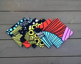 Colorful cloth napkins made from Marimekko fabric Siirtolapuutarha, modern Scandinavian table decor, dining fabric napkin, set of 6