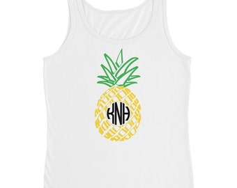 Personalized Monogram Pineapple Women's Tank Custom Initials Hand Drawn Summer Fruit Top