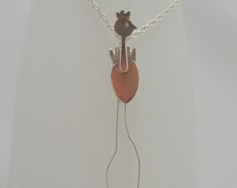 Funky Chicken necklace in sterling silver