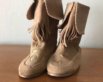 Vintage Suede Moccasin Boots - Sz 6.5